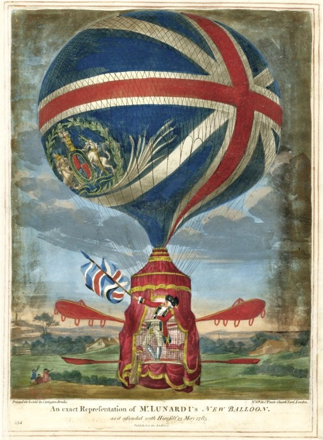1784 An exact representation of Mr Lunardi's New Balloon as it ascended with himself 13 May 1785 Pub by Carrington Bowles, London